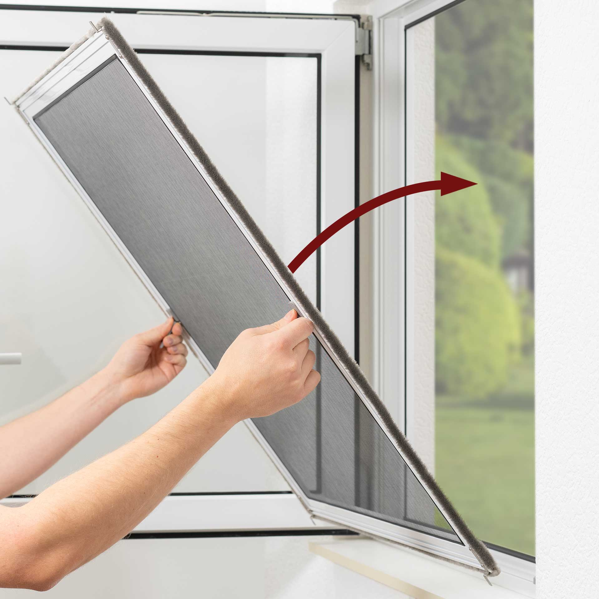 Fliegengitter für Kunststofffenster von innen einhängen   fix & fertig   Florida